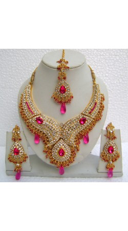 N11195 Designer Artificial Jewellery Necklace Set with Tika