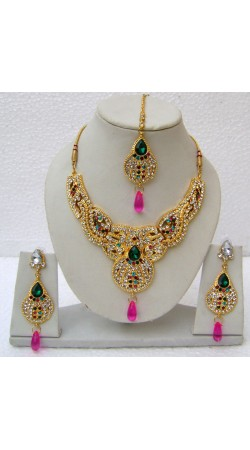 N14295 Designer Artificial Jewellery Necklace Set with Tika