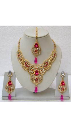 N14395 Designer Artificial Jewellery Necklace Set with Tika