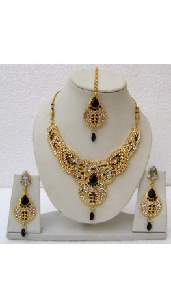 N14495 Designer Artificial Jewellery Necklace Set with Tika