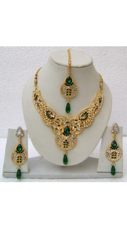 N14595 Designer Artificial Jewellery Necklace Set with Tika