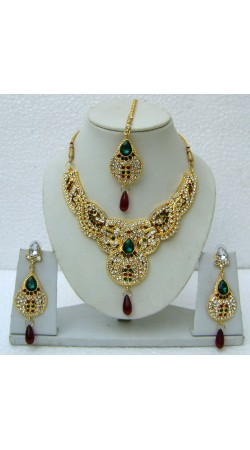 N14695 Designer Artificial Jewellery Necklace Set with Tika