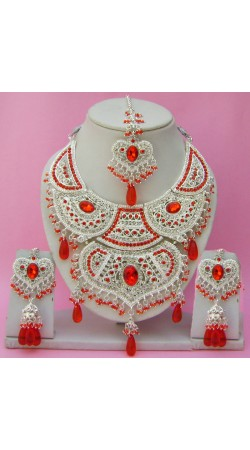 N14795 Double Pendant Necklace Set with Tika