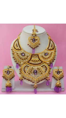 N14895 Double Pendant Necklace Set with Tika