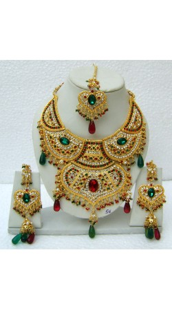 N14995 Double Pendant Necklace Set with Tika