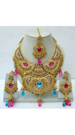 N15095 Double Pendant Necklace Set with Tika