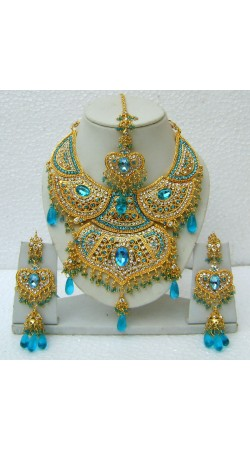 N15295 Double Pendant Necklace Set with Tika