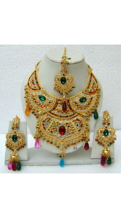 N15495 Double Pendant Necklace Set with Tika