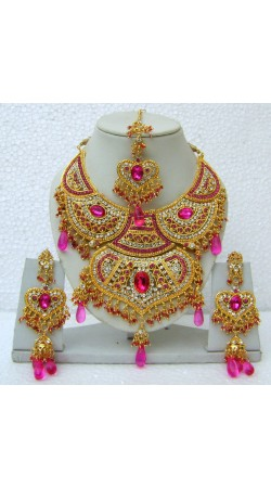 N15595 Double Pendant Necklace Set with Tika