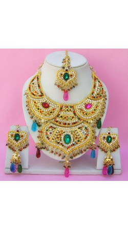N15695 Double Pendant Necklace Set with Tika