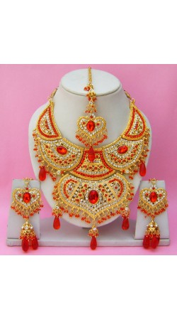 N15795 Double Pendant Necklace Set with Tika