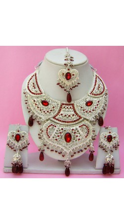 N15995 Double Pendant Necklace Set with Tika