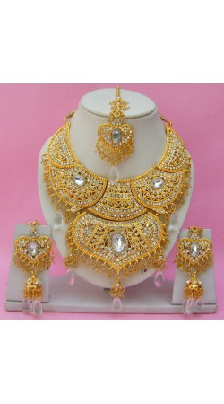 N16195 Double Pendant Necklace Set with Tika