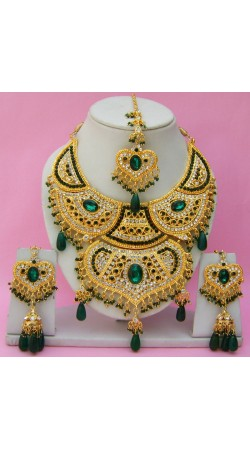 N16395 Double Pendant Necklace Set with Tika