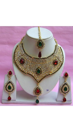 N20795 Choker Artificial Jewellery Necklace Set with Tika
