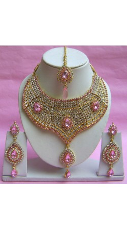 N20895 Choker Artificial Jewellery Necklace Set with Tika