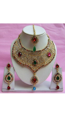 N21095 Choker Artificial Jewellery Necklace Set with Tika