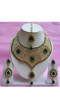 N21195 Choker Artificial Jewellery Necklace Set with Tika
