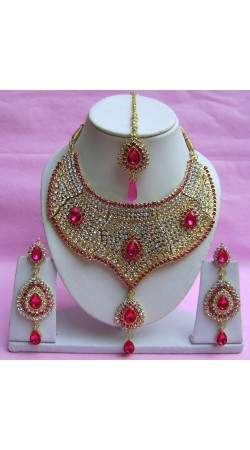 N21295 Choker Artificial Jewellery Necklace Set with Tika