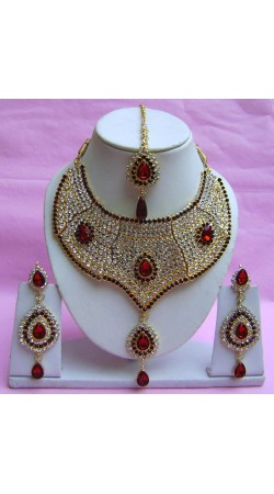 N21395 Choker Artificial Jewellery Necklace Set with Tika