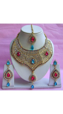 N21595 Choker Artificial Jewellery Necklace Set with Tika
