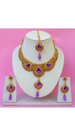 N21995 Double Pendant Necklace Set with Tika