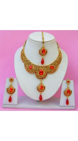N22095 Double Pendant Necklace Set with Tika