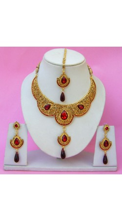 N22195 Double Pendant Necklace Set with Tika