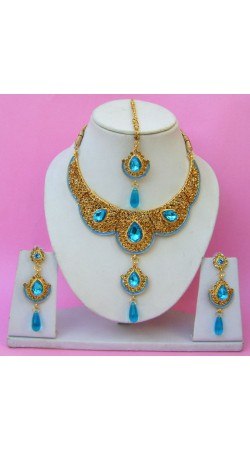N22295 Double Pendant Necklace Set with Tika