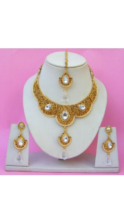 N22395 Double Pendant Necklace Set with Tika
