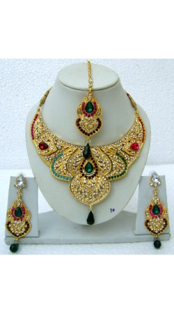 N22495 Semi Bridal Artificial Jewellery Necklace Set with Tika