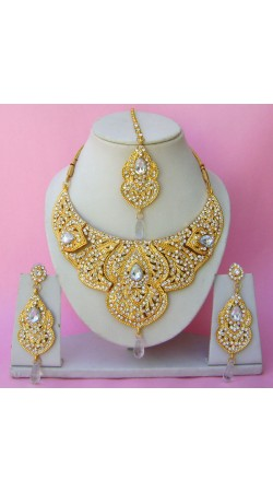 N22595 Semi Bridal Artificial Jewellery Necklace Set with Tika