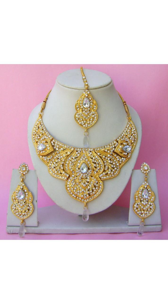 N22595 Semi Bridal Artificial Jewellery Necklace Set