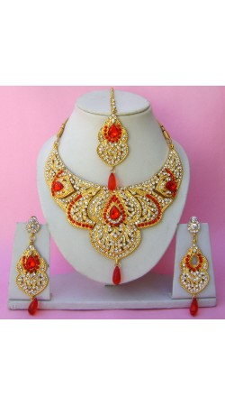 N22695 Semi Bridal Artificial Jewellery Necklace Set with Tika