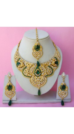 N22795 Semi Bridal Artificial Jewellery Necklace Set with Tika