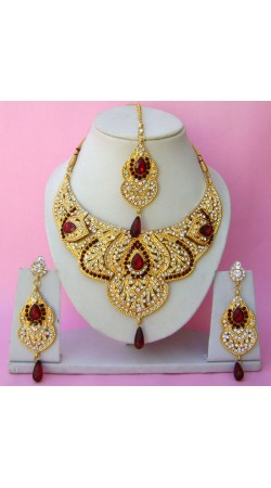 N22895 Semi Bridal Artificial Jewellery Necklace Set with Tika