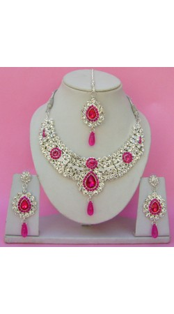 N23095 Semi Bridal Artificial Jewellery Necklace Set with Tika