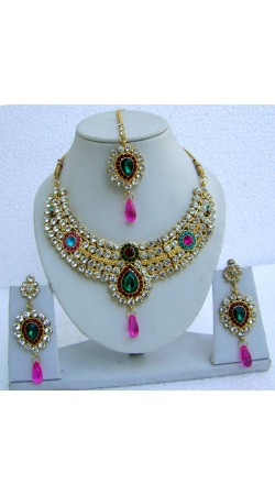 N23195 Drop Shape Necklace Set with Tika