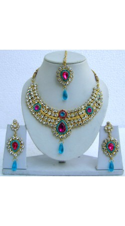 N23295 Drop Shape Necklace Set with Tika