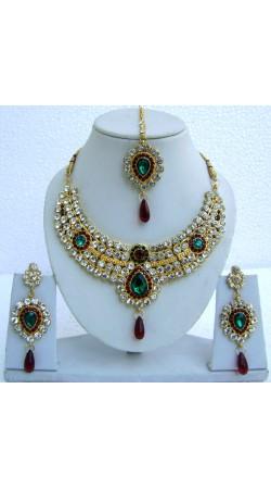 N23495 Drop Shape Necklace Set with Tika