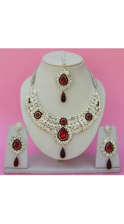N23595 Drop Shape Necklace Set with Tika