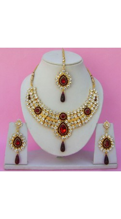 N23795 Drop Shape Necklace Set with Tika