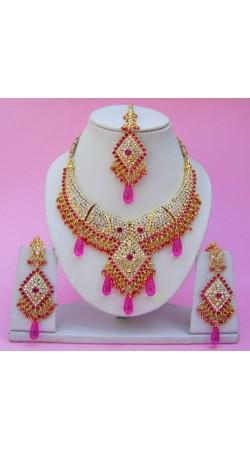 N25395 Diamond Shape Choker Necklace Set with Tika