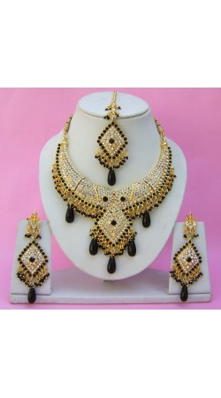 N25495 Diamond Shape Choker Necklace Set with Tika