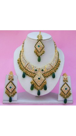 N25595 Diamond Shape Choker Necklace Set with Tika