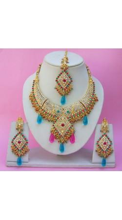 N25695 Diamond Shape Choker Necklace Set with Tika