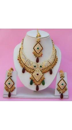 N25795 Diamond Shape Choker Necklace Set with Tika