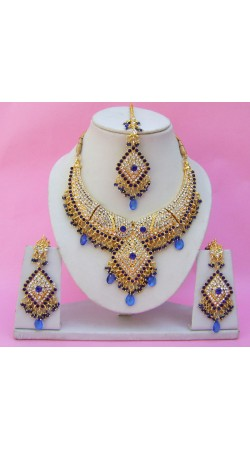 N25995 Diamond Shape Choker Necklace Set with Tika
