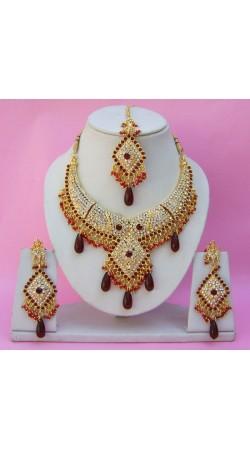 N26195 Diamond Shape Choker Necklace Set with Tika
