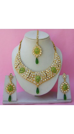N26495 Drop Shape Necklace Set with Tika